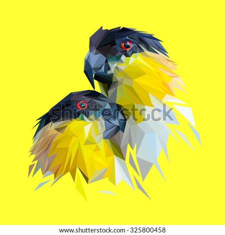 Parrots in love low poly design. Triangle vector illustration. - stock vector