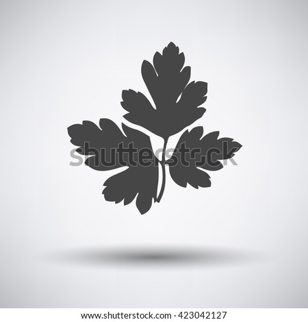Parsley icon on gray background with round shadow. Vector illustration.