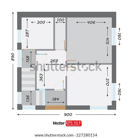 part of architectural project Ground Floor Plan Floorplan House Home Building Architecture Blueprint Layout Detailed architectural plan. EPS10 vector illustration - stock vector