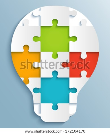 Part of puzzles in the form of light bulbs. Creative design with colorful puzzle pieces - stock vector