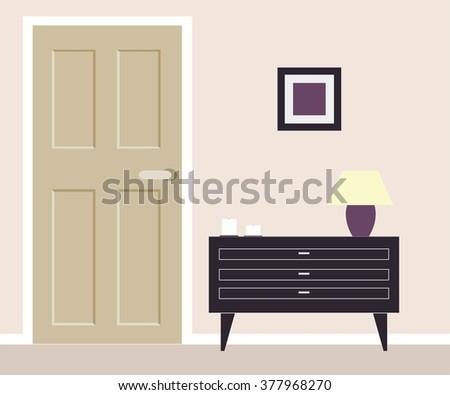 Part of room with nightstand and door - stock vector