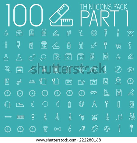 part 1 of set 100 thin line icons pictogram. For web and mobile. Medical, business, ofiice, sport, education, music, whether themes. Vector illustration design - stock vector