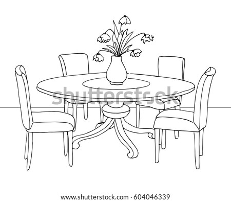 part dining room round table chairs stock vector 604046339