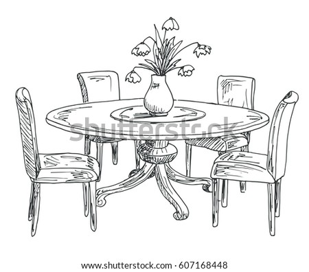 Ink drawing stock images royalty free images vectors for Drawing and dining room designs