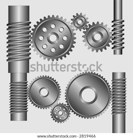 Part of the mechanism. Black-and-white gears and cores with a groove on a grey background. - stock vector