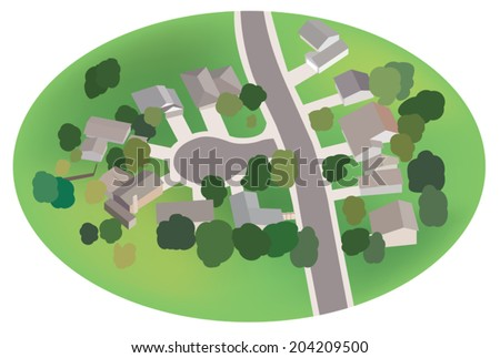part of village - street with houses - airview - vector - eps 8 - stock vector