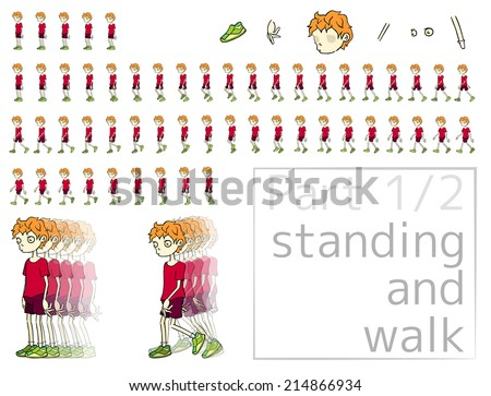 part 1/2. The object (cartoon man) has separate bodys' parts for your correct or new animation by you. - stock vector