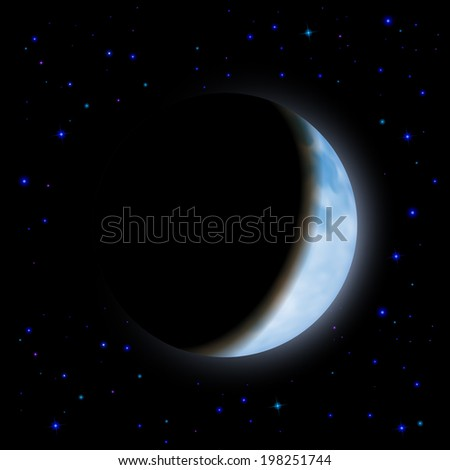 Partial eclipse of the moon in the shadow space - stock vector