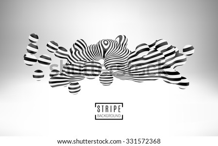Particles of balls with a striped texture. 3d metaball element. Optical Illusion style art. Vector Illustration EPS10. - stock vector