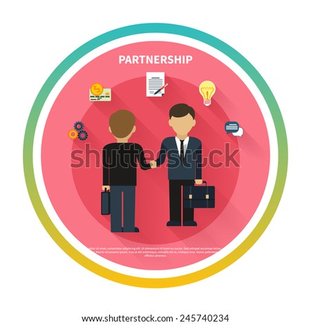 Partnership concept. Businessmen on business meeting. Two man do handshake in flat design - stock vector
