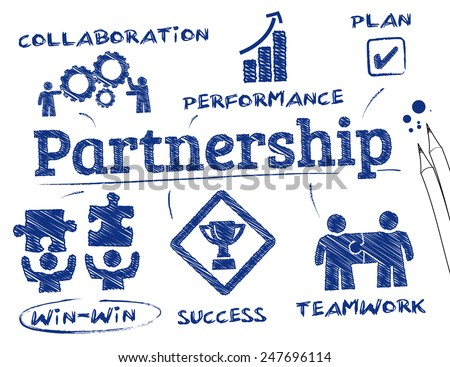 Partnership concept. Chart with keywords and icons - stock vector