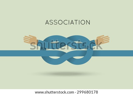 Partnership concept vector illustration in flat style. Vector illustration of intertwined hands. Business template. Press illustration - stock vector