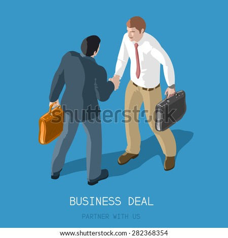 Partnership Deal Handshake to Succeed .Flat 3d Isometric Concept Two Businessmen Shaking Hands .Formal Agreement Infographic .Partner with Us - stock vector