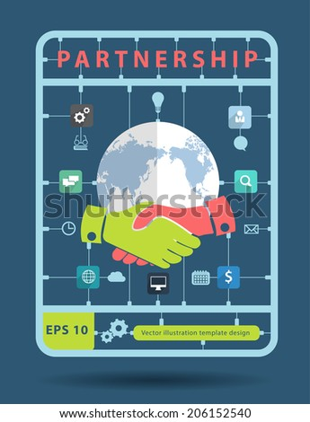 Partnership idea concept with business icons, Creative plastic model kits set, info graphic layout banner, diagram, step up options, Vector illustration modern template design - stock vector