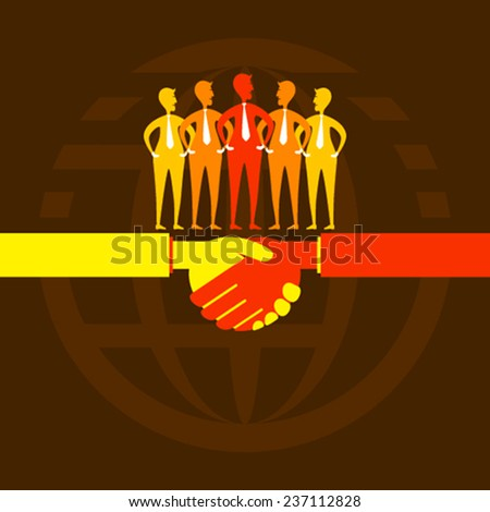 partnership or business agreement and work like teamwork concept vector - stock vector