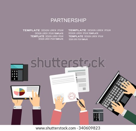 Partnership. Partners signs document, flat design style