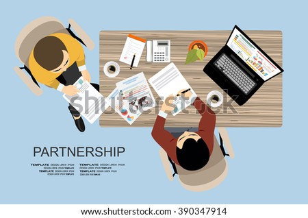 Partnership. Partners signs document, flat design style - stock vector