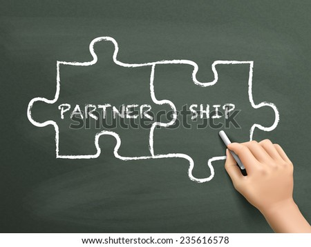 partnership puzzle concept drawn by hand isolated on blackboard - stock vector