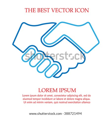 Partnership vector. Handshake icon. Hands shaking. Businessman deal agreement sign symbol.