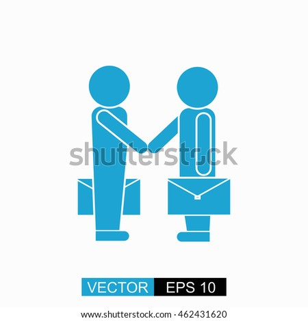 Partnership vector. Isolated blue icon on white background.