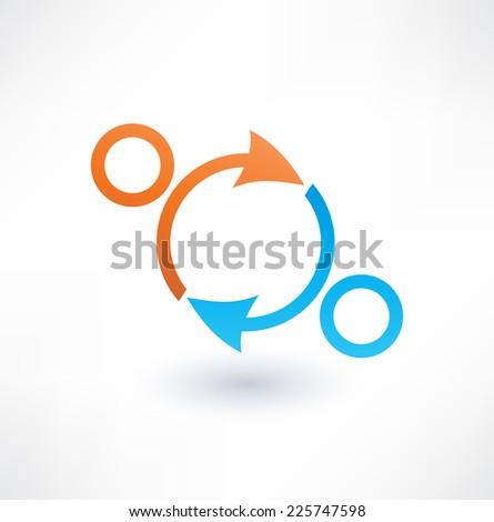 Partnerships and teamwork. Icon. Logo design. - stock vector