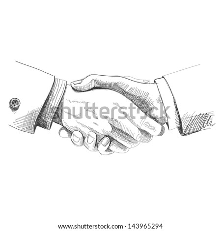 Partneship. Sketch handshake - stock vector