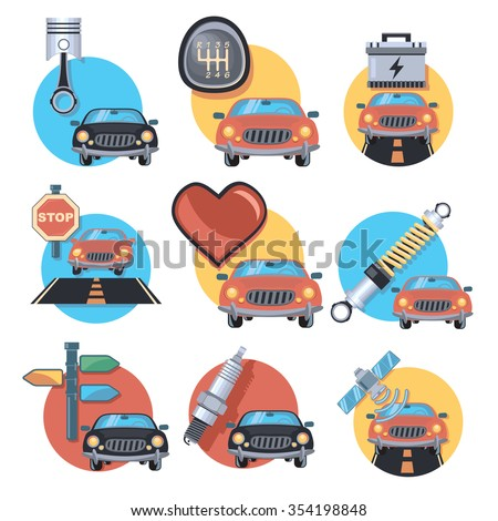 parts and cars - stock vector