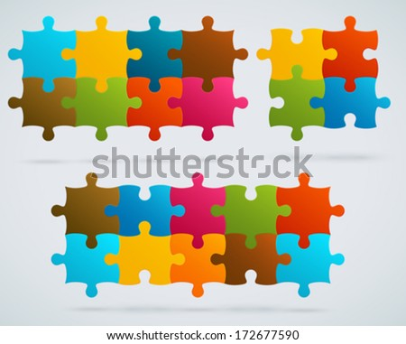 Parts of colorful puzzles. Set of 8, 4, 10 vector pieces - stock vector