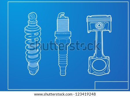 parts of engine - stock vector