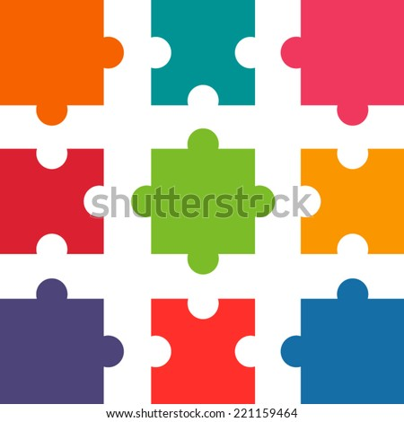 Parts of flat colorful paper puzzles. Teamwork. Business - stock vector