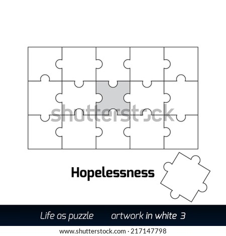 Parts of flat white paper puzzles. Hopelessness.  - stock vector