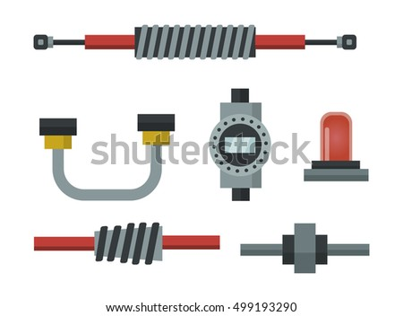 Parts of machinery flat icons set manufacturing work detail design