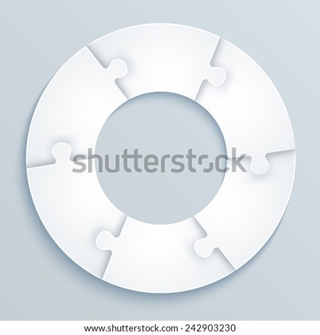 Parts of paper puzzles in the form of a circle of 6 pieces  - stock vector
