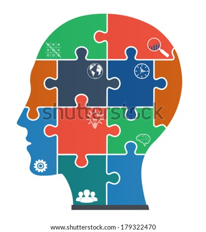 Parts of puzzles with icons in the form of the face. - stock vector