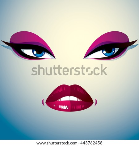 Parts of the face of a young beautiful lady with a bright make-up, lips and eyes. People facial expression, angry and tricky woman.  - stock vector