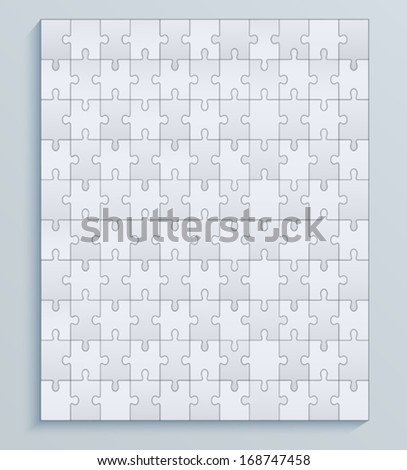 Parts puzzles, seamless vector pattern jigsaw - stock vector