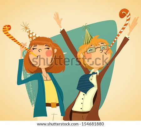 Party. A man and a woman blow party horns at a corporate party. - stock vector