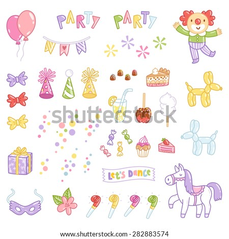 Party accessories vector illustration set isolated on white - stock vector