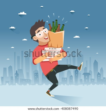 """Party after hard work or study. Happy hipster boy going with package of beer bottles and pizza, hand with """"Party"""" sign, night city on background. Colorful vector illustration in flat style - stock vector"""