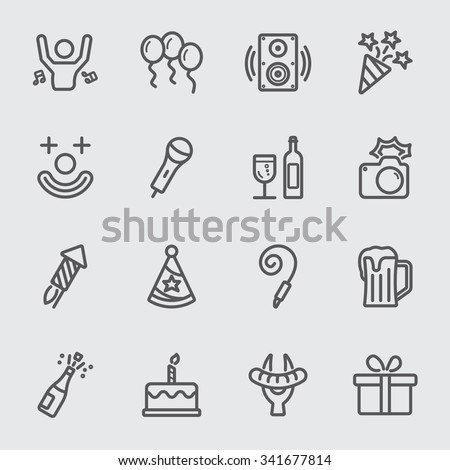 Party and birthday line icon - stock vector