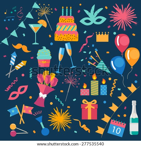 Party and celebration design elements, vector illustration. Icons set: balloons, cake, gift, fireworks, sparkler, cupcake, drinks, flags, streamers, bunch of flowers, bengal fire, champagne bottle - stock vector