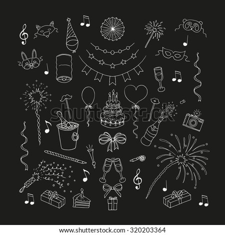 Party and celebration elements. Doodle set. Isolated. Chalkboard - stock vector