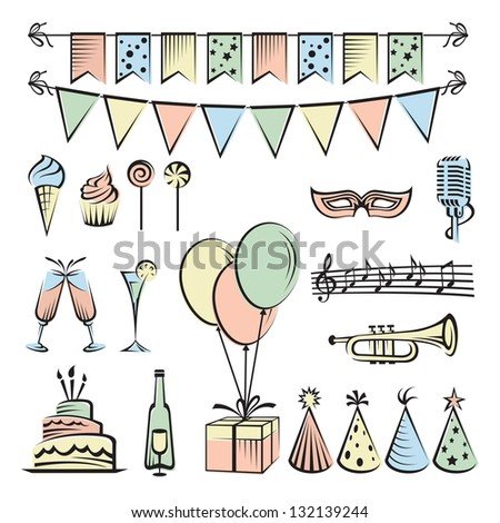 Party and celebration icon collection - stock vector