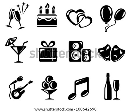 Party and celebration icon set - stock vector