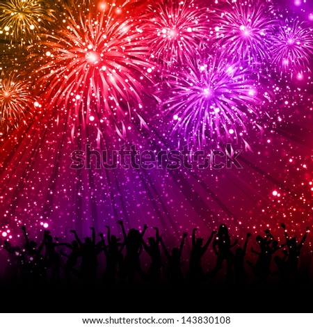 Party and lights background, easy editable - stock vector