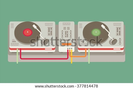 Party and sound, musical entertainment. Flat vector illustration - stock vector