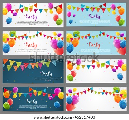 Party Background Baner Set with Flags and Balloons Vector Illustration. EPS10 - stock vector