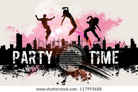 Party background. Illustration party background with dancing silhouettes in grunge style.