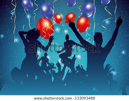 party background with dancing people silhouette