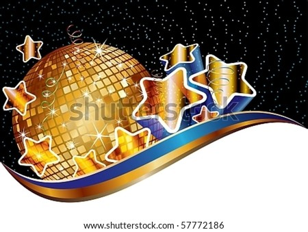 Party background with golden music disco ball, eps10 vector illustration - stock vector